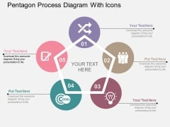 Pentagon Process Diagram With Icons Powerpoint Template