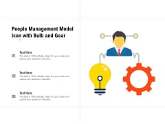People Management Model Icon With Bulb And Gear Ppt PowerPoint Presentation Infographics Template PDF