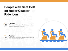 People With Seat Belt On Roller Coaster Ride Icon Ppt PowerPoint Presentation Icon Pictures PDF