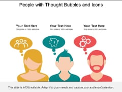 People With Thought Bubbles And Icons Ppt PowerPoint Presentation File Information PDF