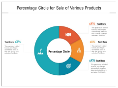 Percentage Circle For Sale Of Various Products Ppt PowerPoint Presentation File Slides PDF