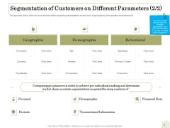 Percentage Share Customer Expenditure Segmentation Of Customers On Different Parameters Data Clipart PDF