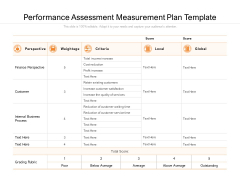 Performance Assessment Measurement Plan Template Ppt PowerPoint Presentation Icon Skills