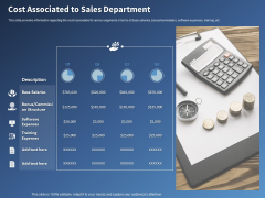 Performance Assessment Sales Initiative Report Cost Associated To Sales Department Ppt Icon Brochure PDF