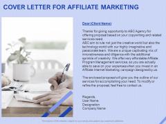 Performance Based Marketing Proposal Cover Letter For Affiliate Marketing Ppt Model Outline PDF