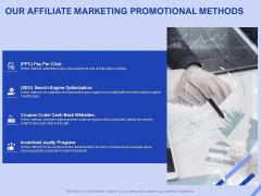 Performance Based Marketing Proposal Our Affiliate Marketing Promotional Methods Ppt Inspiration Portfolio PDF