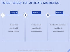 Performance Based Marketing Proposal Target Group For Affiliate Marketing Ppt Infographic Template Information PDF