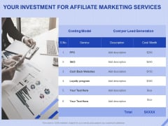 Performance Based Marketing Proposal Your Investment For Affiliate Marketing Services Ppt Summary Graphics PDF