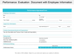 Performance Evaluation Document With Employee Information Ppt Powerpoint Presentation File Outline