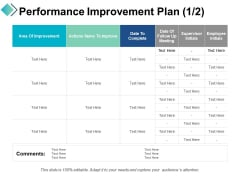 Performance Improvement Plan Area Of Improvement Ppt PowerPoint Presentation Slides Background Image