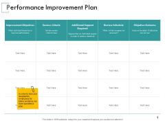 Performance Improvement Plan Ppt PowerPoint Presentation Inspiration Diagrams