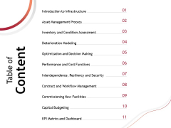 Performance Measuement Of Infrastructure Project Table Of Content Ppt Inspiration Smartart PDF