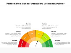 Performance Monitor Dashboard With Black Pointer Ppt PowerPoint Presentation Gallery Graphics Example PDF