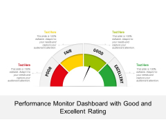 Performance Monitor Dashboard With Good And Excellent Rating Ppt PowerPoint Presentation Icon Styles PDF