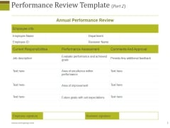 Performance Review Template 2 Ppt PowerPoint Presentation Slides Clipart Images