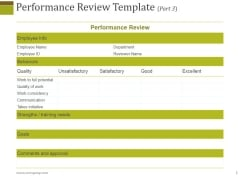 Performance Review Template 3 Ppt PowerPoint Presentation Layouts Graphics Download
