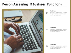Person Assessing IT Business Functions Ppt PowerPoint Presentation Gallery Portrait PDF