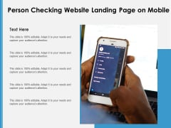 Person Checking Website Landing Page On Mobile Ppt PowerPoint Presentation Deck PDF