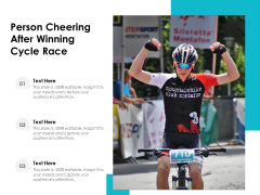 Person Cheering After Winning Cycle Race Ppt PowerPoint Presentation File Files PDF