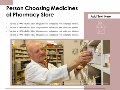 Person Choosing Medicines At Pharmacy Store Ppt PowerPoint Presentation Styles Model PDF