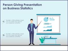 Person Giving Presentation On Business Statistics Ppt PowerPoint Presentation Infographic Template Portfolio PDF