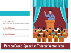 Person Giving Speech In Theater Vector Icon Ppt PowerPoint Presentation File Styles PDF