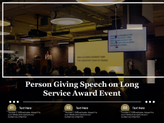 Person Giving Speech On Long Service Award Event Ppt PowerPoint Presentation Gallery Guide PDF