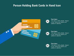 Person Holding Bank Cards In Hand Icon Ppt PowerPoint Presentation File Infographic Template PDF