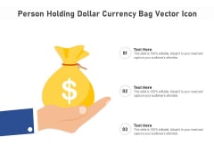 Person Holding Dollar Currency Bag Vector Icon Ppt PowerPoint Presentation File Portrait PDF