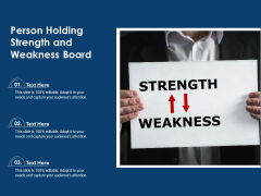 Person Holding Strength And Weakness Board Ppt PowerPoint Presentation File Backgrounds PDF