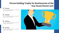 Person Holding Trophy For Businessman Of The Year Award Vector Icon Ppt PowerPoint Presentation Gallery Gridlines PDF