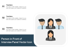 Person In Front Of Interview Panel Vector Icon Ppt PowerPoint Presentation Pictures Display PDF