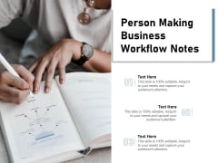Person Making Business Workflow Notes Ppt PowerPoint Presentation Backgrounds PDF