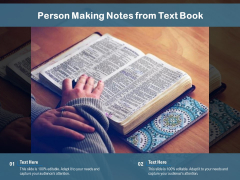 Person Making Notes From Text Book Ppt PowerPoint Presentation Slides Format PDF