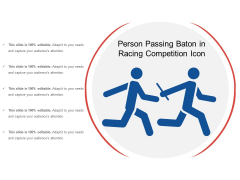 Person Passing Baton In Racing Competition Icon Ppt PowerPoint Presentation Gallery Deck PDF