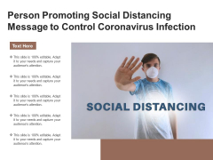 Person Promoting Social Distancing Message To Control Coronavirus Infection Ppt PowerPoint Presentation Gallery Design Templates PDF
