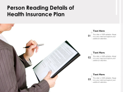 Person Reading Details Of Health Insurance Plan Ppt PowerPoint Presentation Gallery Portfolio PDF