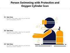 Person Swimming With Protective And Oxygen Cylinder Icon Ppt PowerPoint Presentation Gallery Slide Download PDF