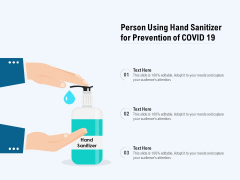 Person Using Hand Sanitizer For Prevention Of COVID 19 Ppt PowerPoint Presentation Infographics Images PDF