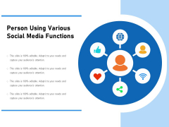 Person Using Various Social Media Functions Ppt PowerPoint Presentation Summary Template PDF