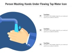 Person Washing Hands Under Flowing Tap Water Icon Ppt PowerPoint Presentation Gallery Icons PDF
