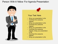 Person With Paper For Business Agenda Presentation Powerpoint Template