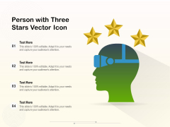 Person With Three Stars Vector Icon Ppt PowerPoint Presentation Gallery Gridlines PDF