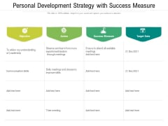 Personal Development Strategy With Success Measure Ppt PowerPoint Presentation Gallery Picture PDF
