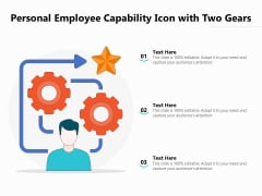 Personal Employee Capability Icon With Two Gears Ppt PowerPoint Presentation Gallery Layout PDF