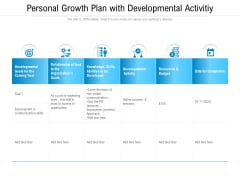 Personal Growth Plan With Developmental Activitiy Ppt PowerPoint Presentation Gallery Layout PDF