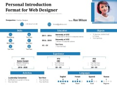 Personal Introduction Format For Web Designer Ppt PowerPoint Presentation Gallery Example Introduction PDF