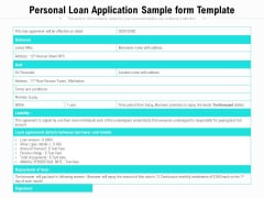 Personal Loan Application Sample Form Template Ppt PowerPoint Presentation File Templates PDF