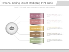 Personal Selling Direct Marketing Ppt Slide