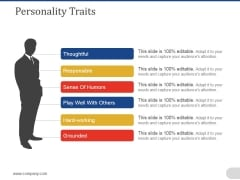 Personality Traits Ppt PowerPoint Presentation Layouts Model